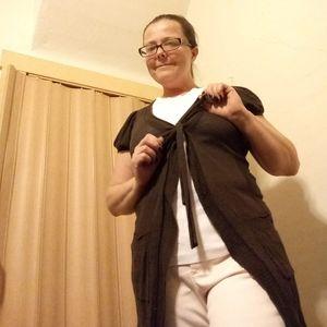 Ann Taylor Loft brown tie front cardigan